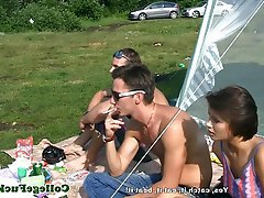 Babe, Blowjob, Threesome, Outdoor
