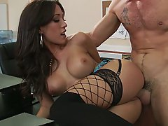 Brunette, Office, Stockings, Hardcore