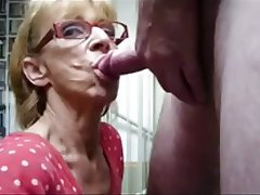 Blonde, Blowjob, Cumshot, Granny, Old and Young